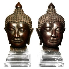 Pair of Massive Antique Bronze Buddha Head Thai Lana Kingdom