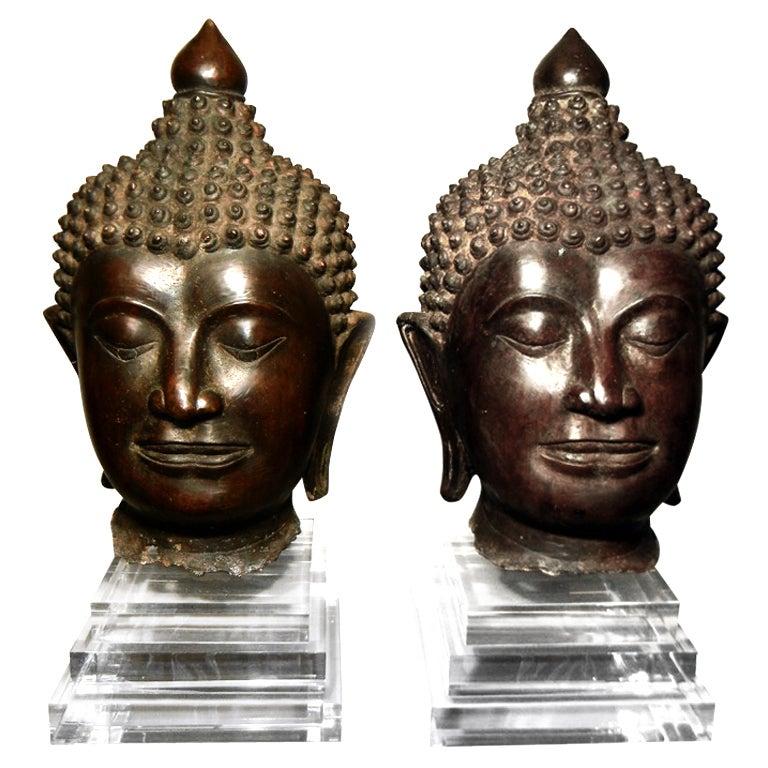 Pair of Massive Antique Bronze Buddha Head Thai Lana Kingdom For Sale