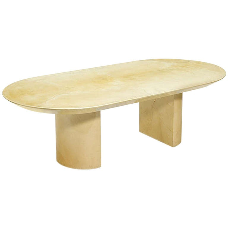 Large Lacquered Goatskin Dining Table by Karl Springer