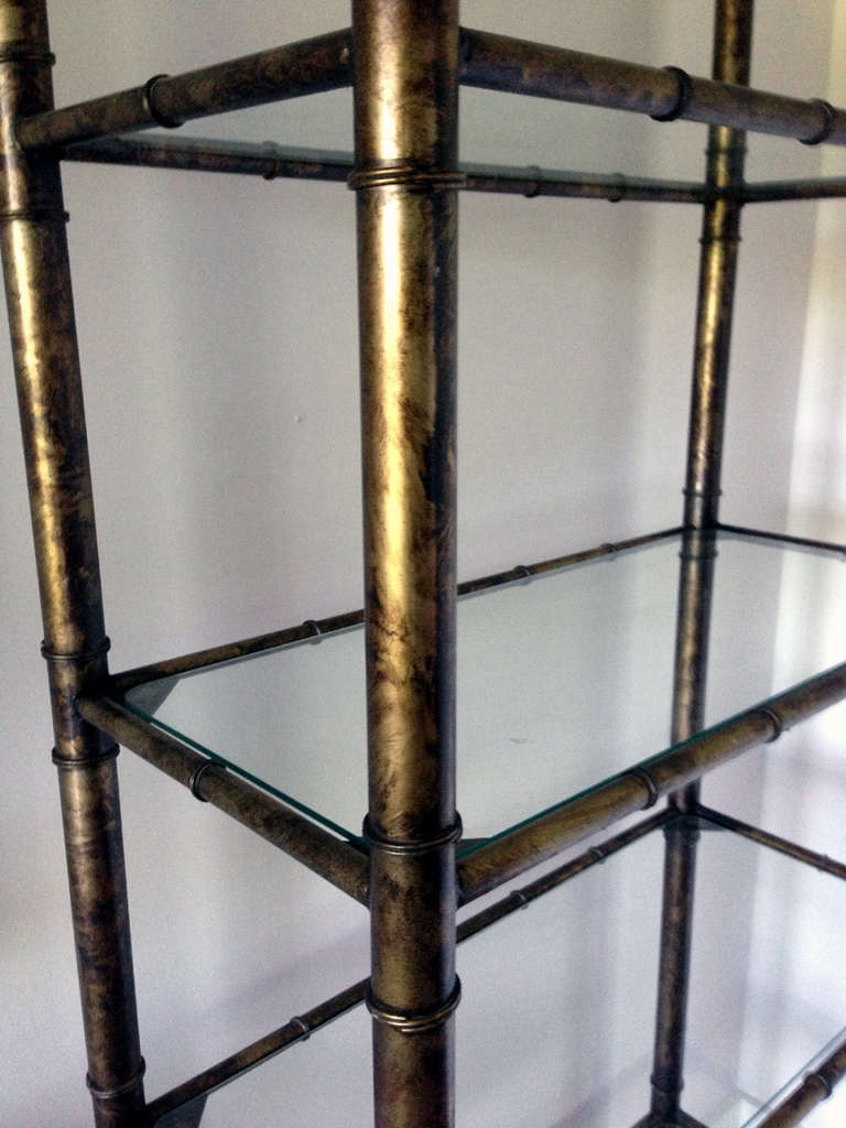 pair hollywood regency shelves etagere patinated metal and glass at 1stdibs. Black Bedroom Furniture Sets. Home Design Ideas