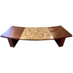 Early Walnut and Marble Curvy Coffee Table by Vladimir Kagan