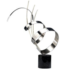 Abstract Chrome Sculpture on Marble base C. Jere signed