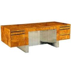 Large wood and chrome patchwork executive desk Paul Evans
