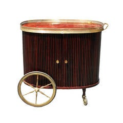 Italian rosewood and brass bar cart on wheels