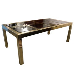 Dining table with extension leaves brass and glass Mastercraft