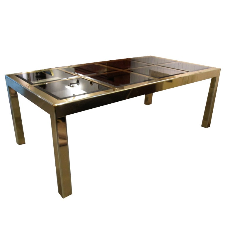 dining table with extension leaves brass and glass