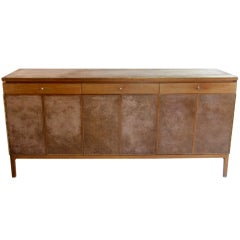 Leather clad Sideboard Credenza Paul McCobb for Calvin