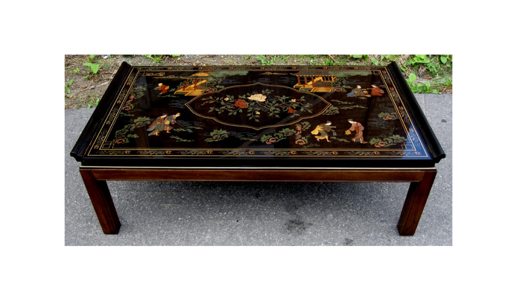 A Lacquered Coffee Tables By Drexel Heritage In An Oriental Chinoiserie Taste It Features Squared