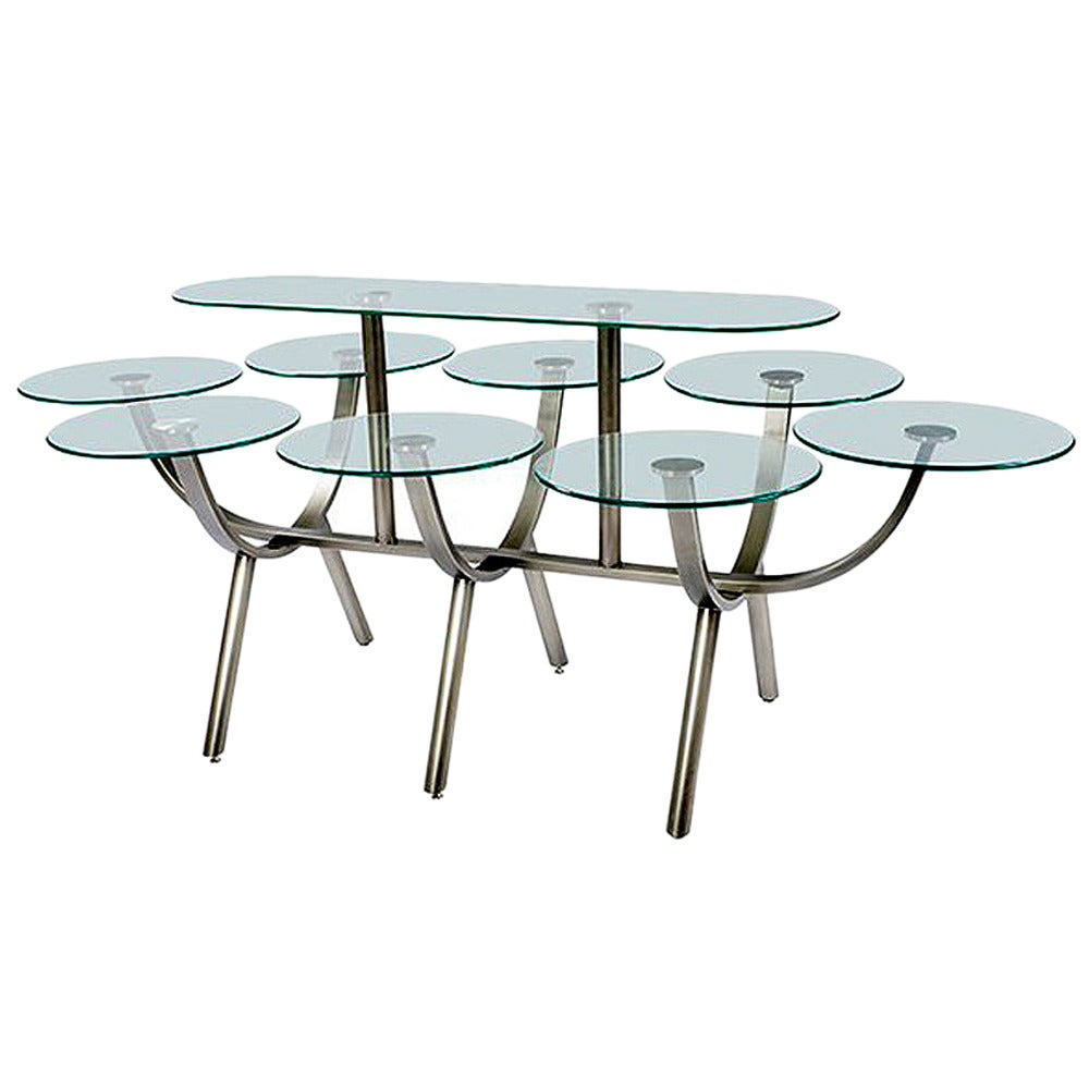 Glass and steel banquet table by design institute of for Steel dining table design
