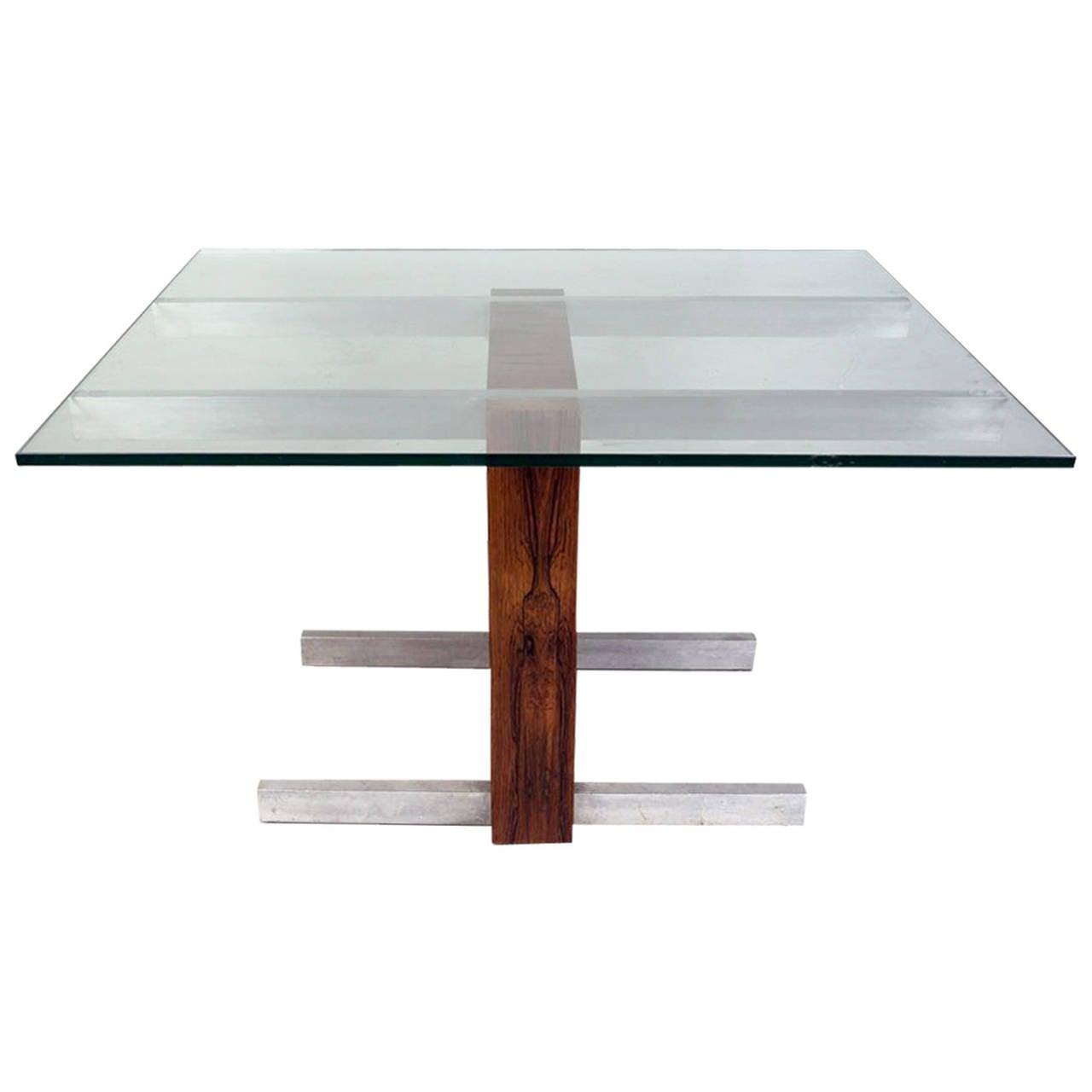 Rosewood and Metal Cubist Table Base by Vladimir Kagan