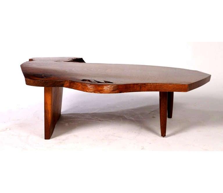 Late 20th Century Free Edge Walnut Coffee Table George Nakashima