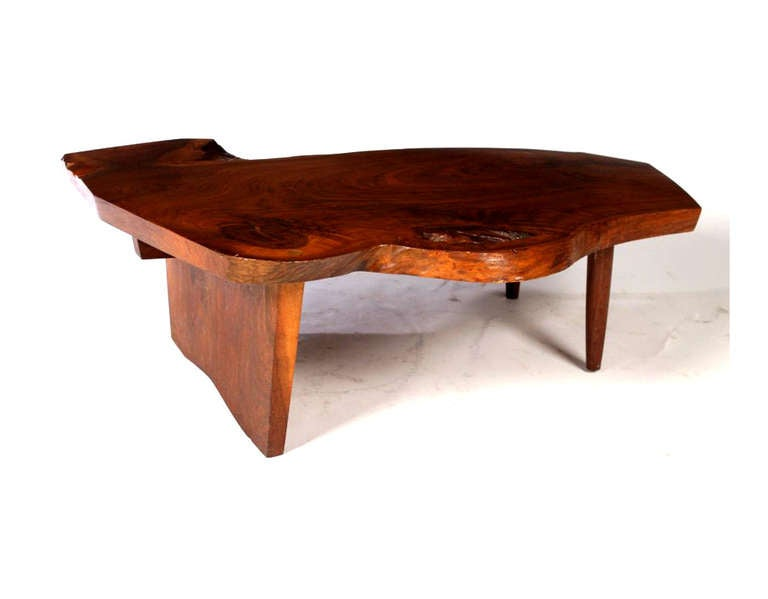 Modern Free Edge Walnut Coffee Table George Nakashima