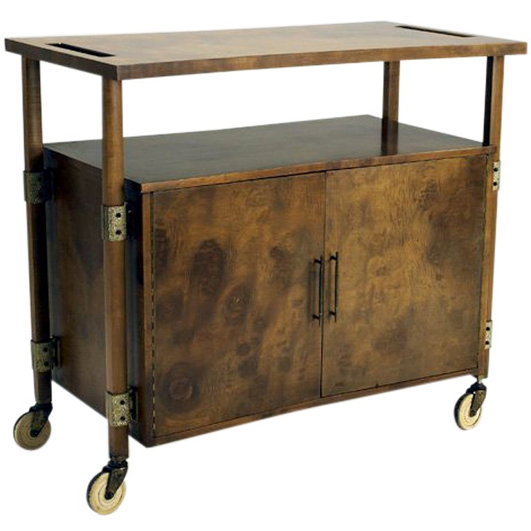 Wood Serving Cart ~ Burl wood bar serving cart cabinet harold schwartz romweber