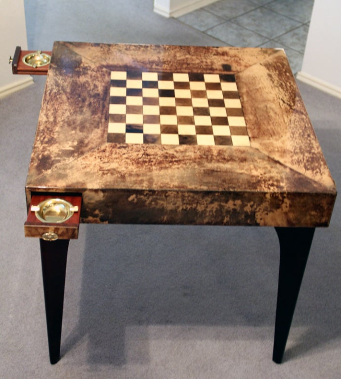 A Great Set Of Game Table And Four Chairs By Italian Designer Aldo Tura. It