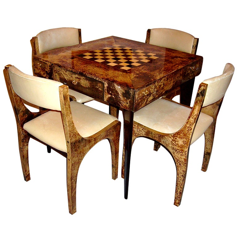 Tables Chairs For Sale: Italian Goatskin Parchment Game Table And Four Chairs Aldo