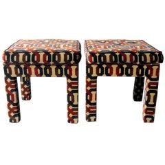Pair vintage parson stools in Jack Lenor Larsen fabric