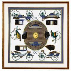 Vintage Hermes Scarf Francois de la Perriere in frame