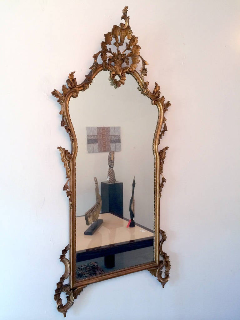 Large antique french carved gilt wood mirror at 1stdibs for French mirror