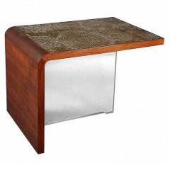 Vladimir Kagan Table With Etched Bronze Panels Greenamyer