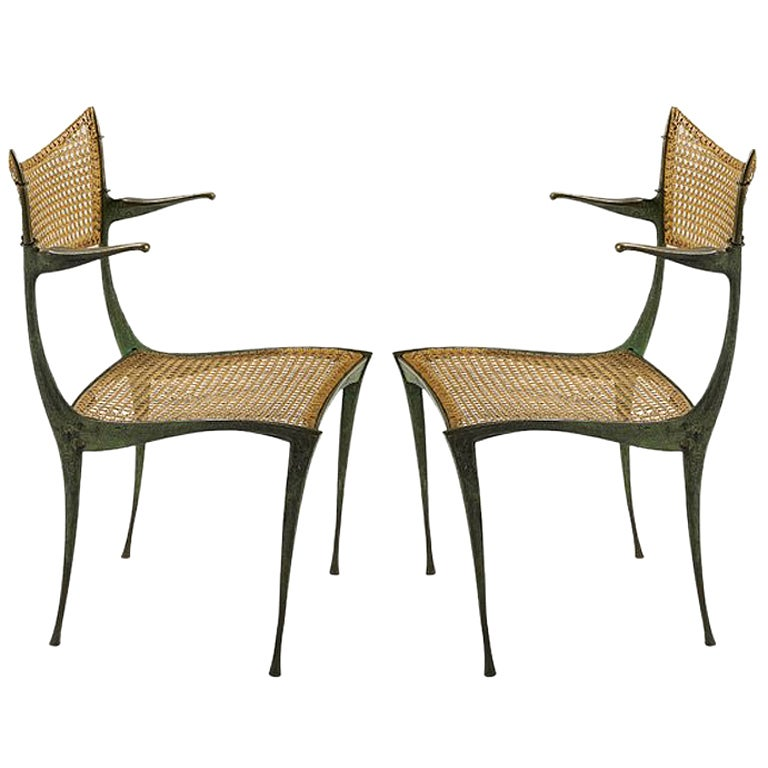 Pair of bronze Gazelle chairs Dan Johnson