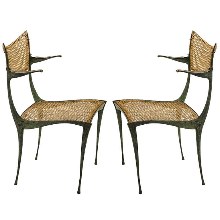 Pair of bronze Gazelle chairs Dan Johnson For Sale