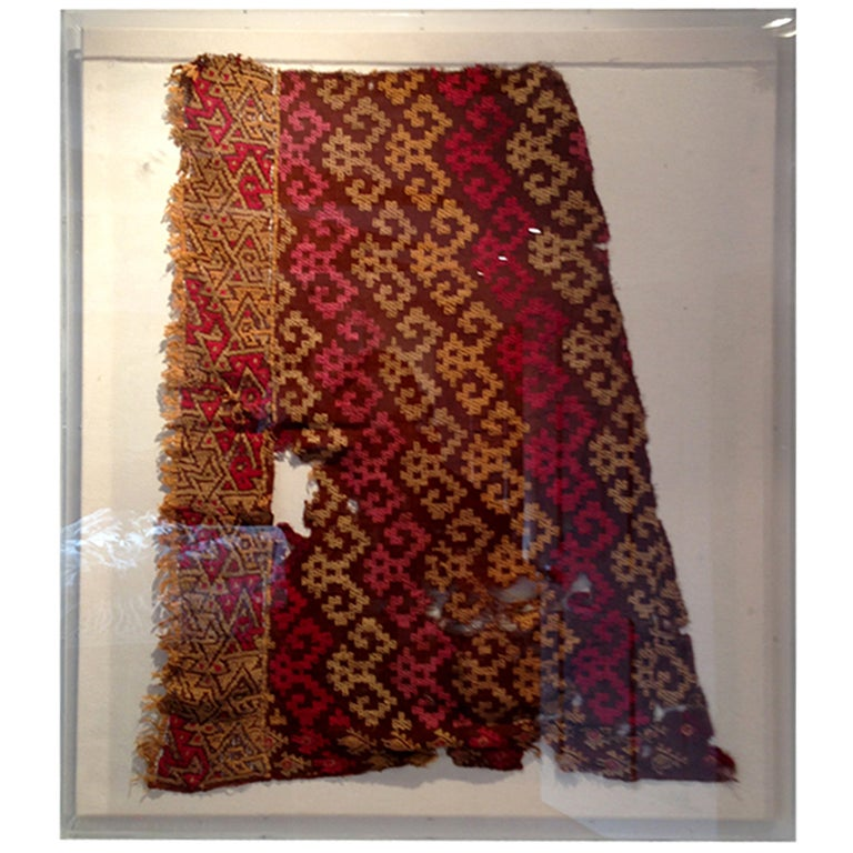 Framed Pre-Columbian textile fragment from Chimu Culture