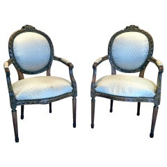 Pair of French Carved Fauteuil Chairs, Louis XVI Style