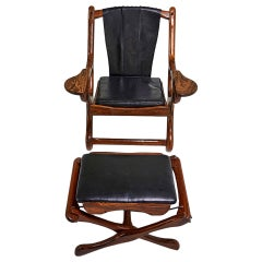 Rosewood and leather lounge Chair and Ottoman Don Shoemaker