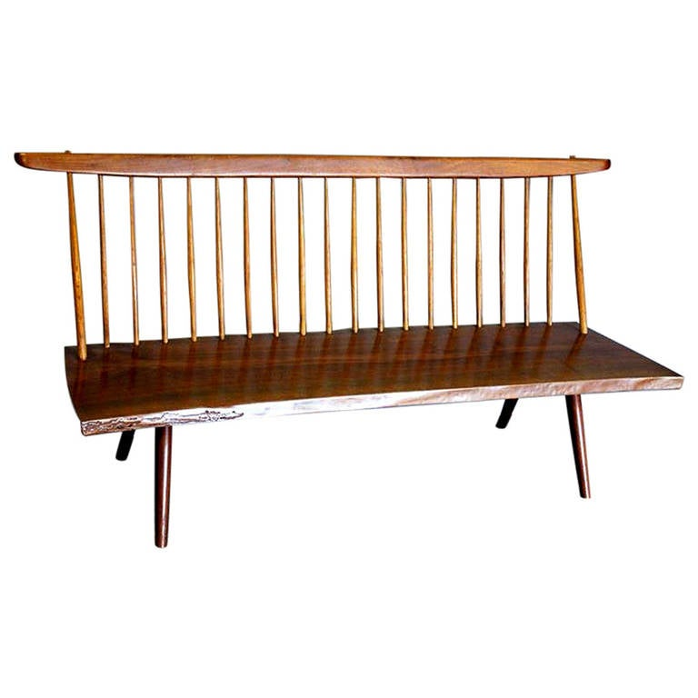 Early Free Edge Walnut Bench by American Woodworker George Nakashima For Sale