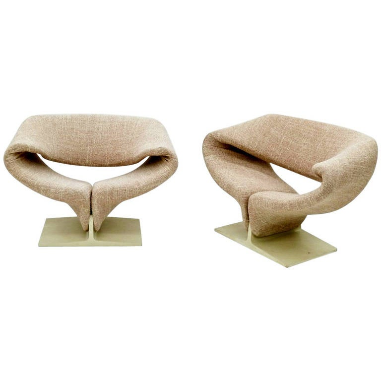 Captivating Pair Of Vintage Ribbon Lounge Chairs Pierre Paulin For Artifort With Ribbon  Chair. Images