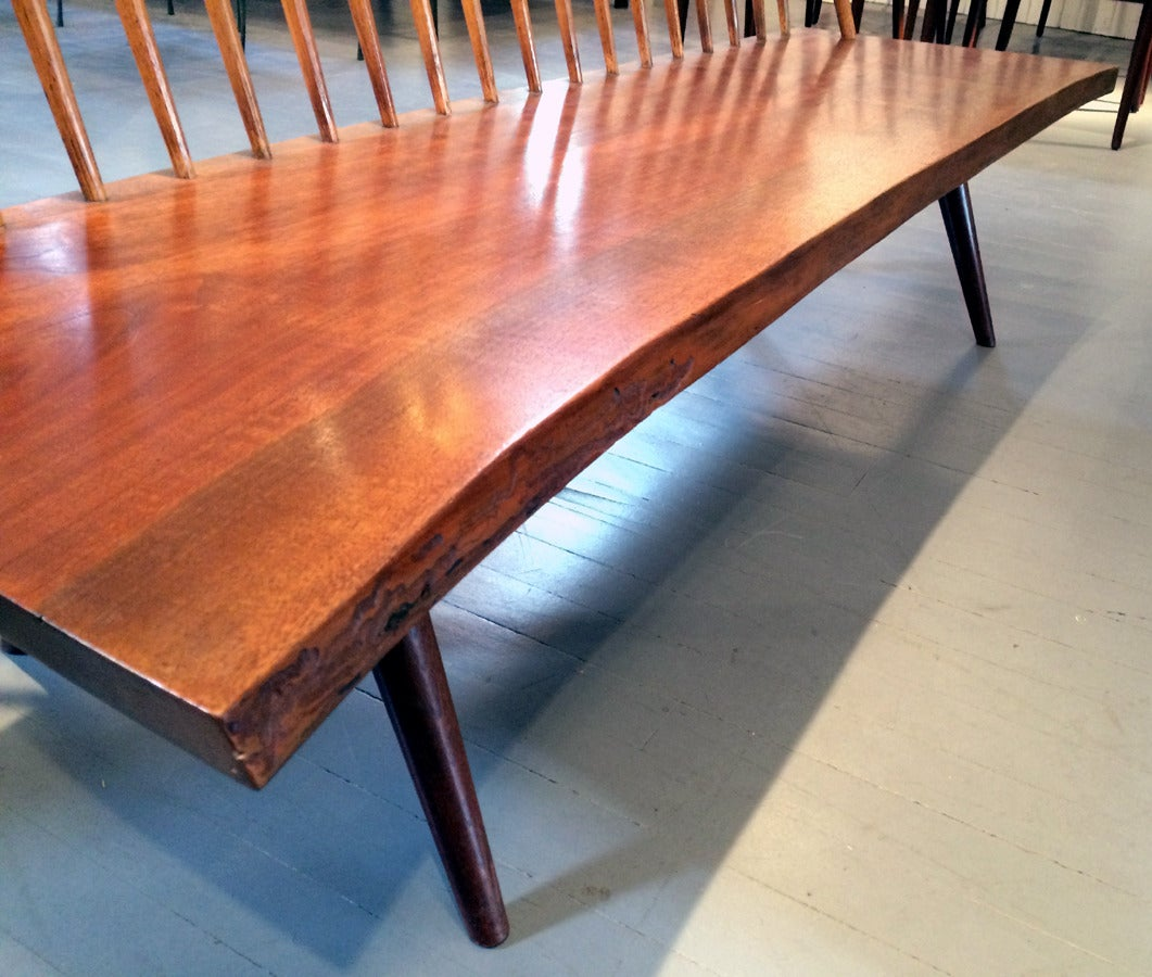 Early Free Edge Walnut Bench by American Woodworker George Nakashima For Sale 1