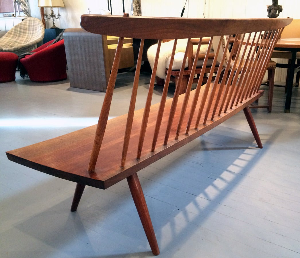 Hickory Early Free Edge Walnut Bench by American Woodworker George Nakashima For Sale