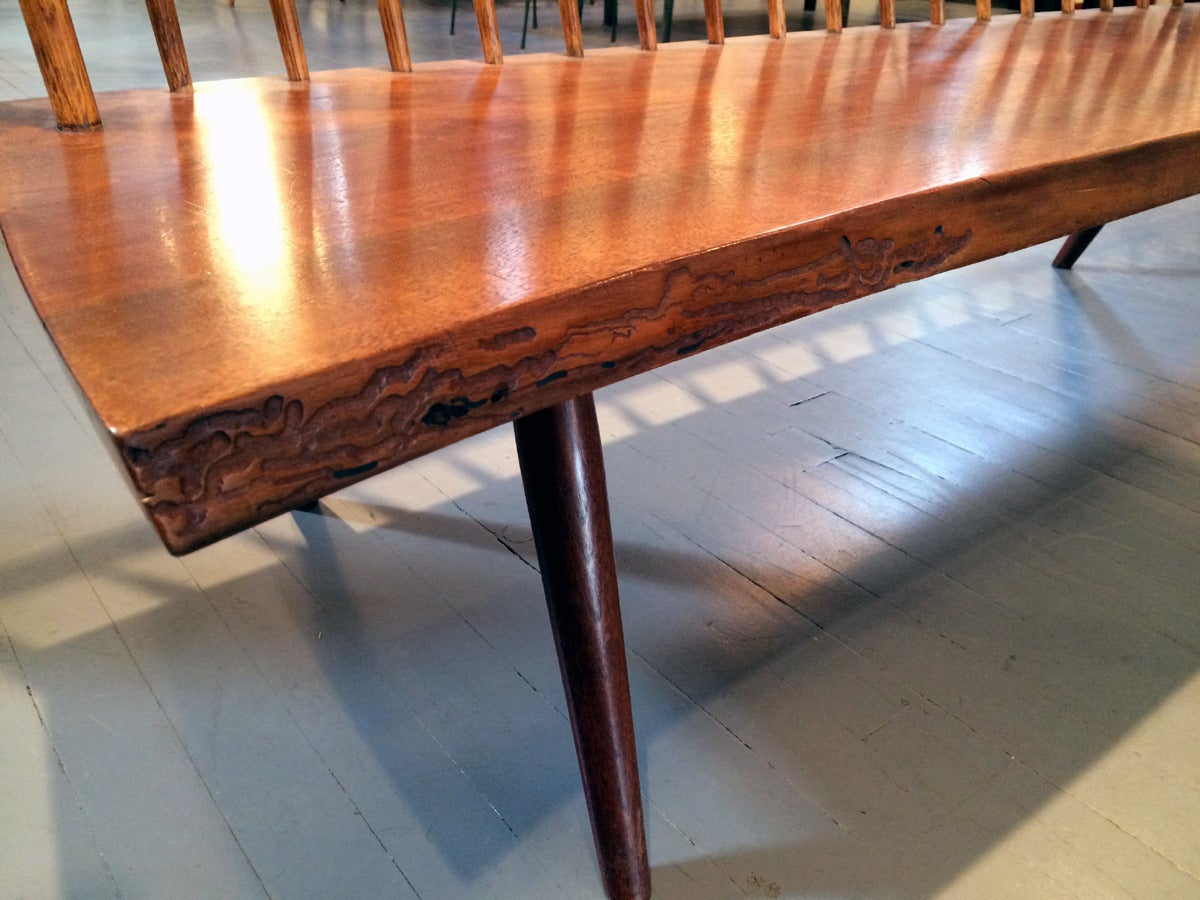 Early Free Edge Walnut Bench by American Woodworker George Nakashima For Sale 2
