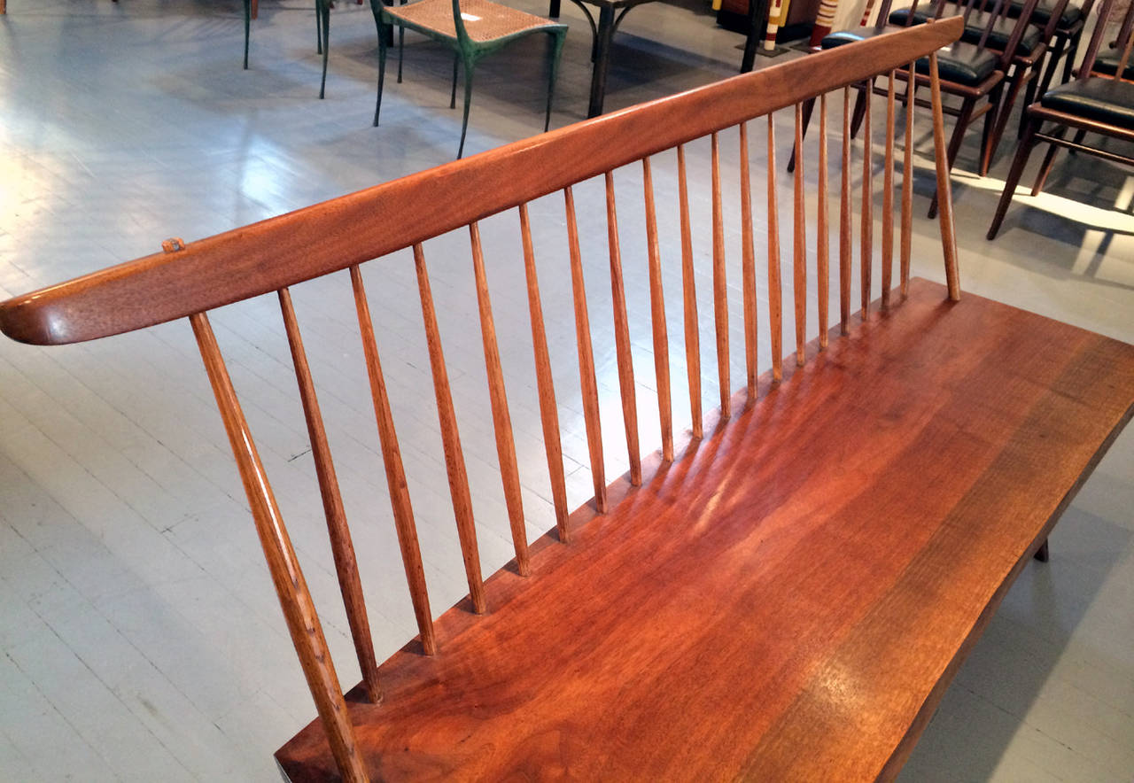 Mid-20th Century Early Free Edge Walnut Bench by American Woodworker George Nakashima For Sale