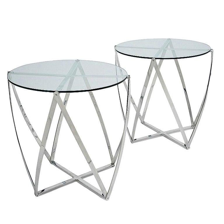 Pair of Metal Side Tables by John Vesey