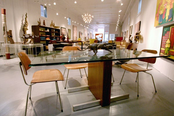 Cubist walnut, aluminum and glass dining table designed and manufactured by Vladimir Kagan. Minimalism yet highly functional. It can also serve as a fantastic oversized library desk.
