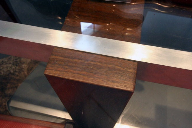 Cubist Glass Top Dining Table or Desk by Vladimir Kagan In Good Condition In Atlanta, GA