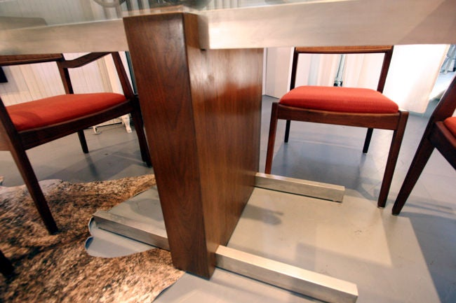 Walnut Cubist Glass Top Dining Table or Desk by Vladimir Kagan