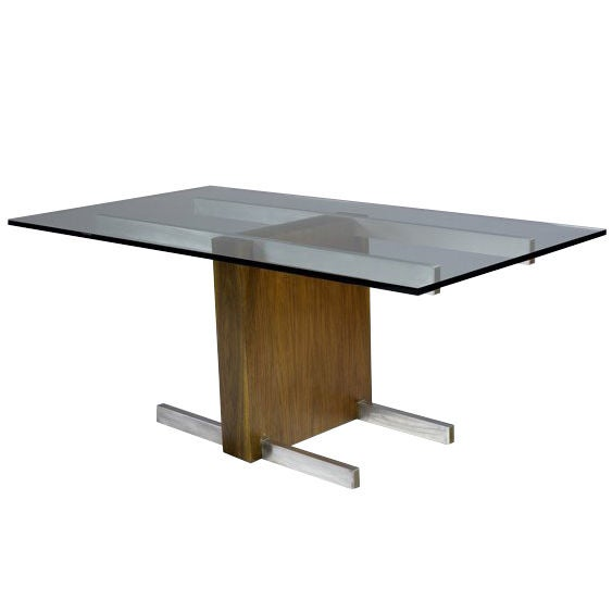 Cubist Glass Top Dining Table or Desk by Vladimir Kagan
