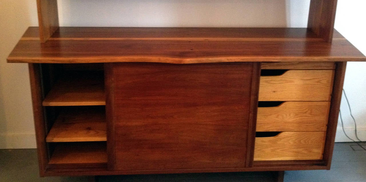 Walnut Sideboard with Top Shelf by George Nakashima In Good Condition For Sale In North Miami, FL