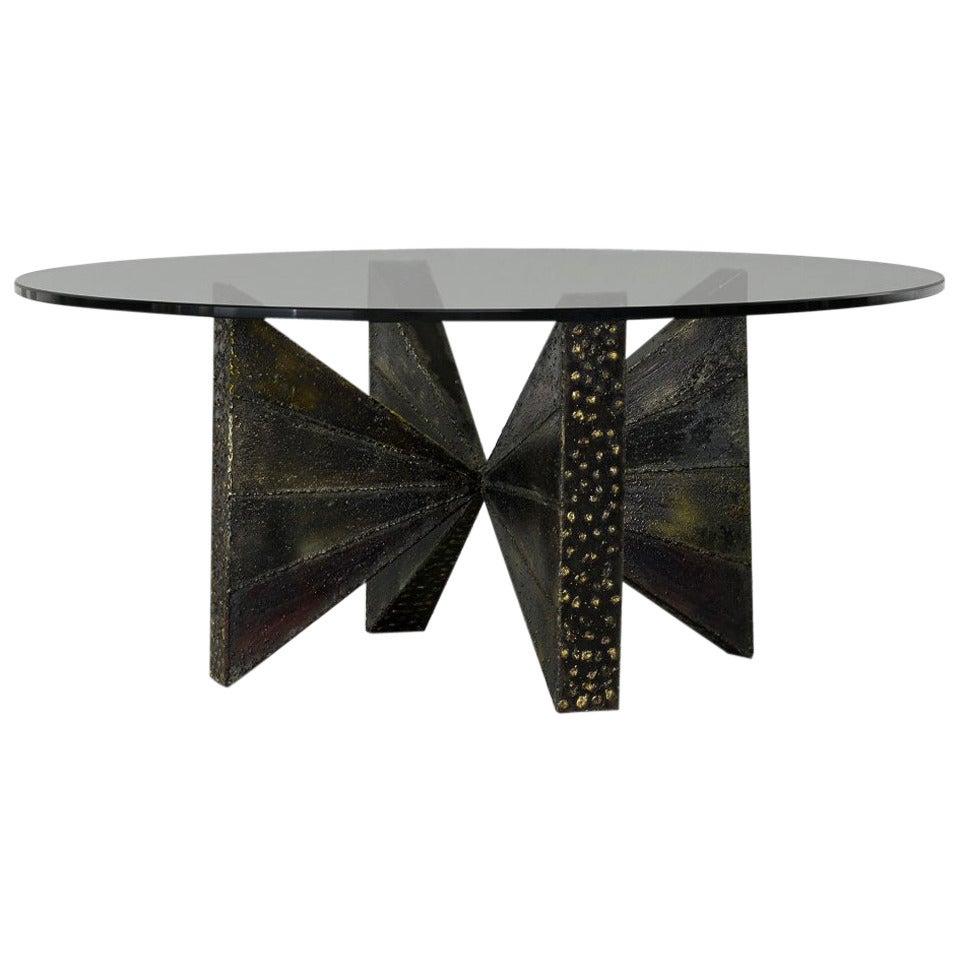 Sculpted Steel Coffee Table Paul Evans
