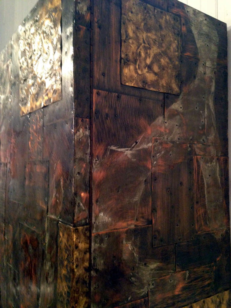 Large Metal Patchwork Cabinet By Paul Evans At 1stdibs
