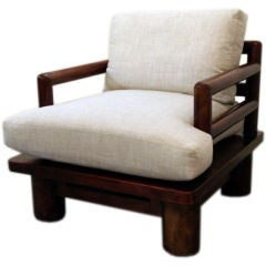 Karl Springer Leather-covered Dowelwood Arm Chair