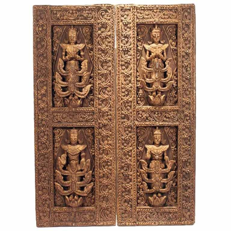A Pair of Antique Architectural Window panels from Thailand For Sale