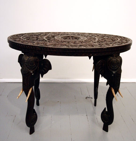Coffee Table Leg Broken: On Hold Indian Rosewood Table With Elephant Legs And Ivory