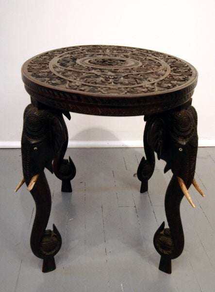 On Hold Indian Rosewood Table With Elephant Legs And Ivory