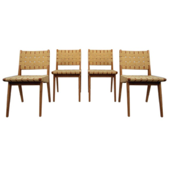 Four jens risom web dining chairs by knoll at 1stdibs - Jens risom dining chairs ...
