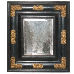 Ebonized Mercury Mirror with Decorative Hardware