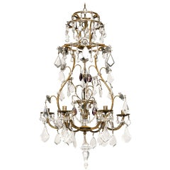 19th Century Italian Gilt Crystal Chandelier