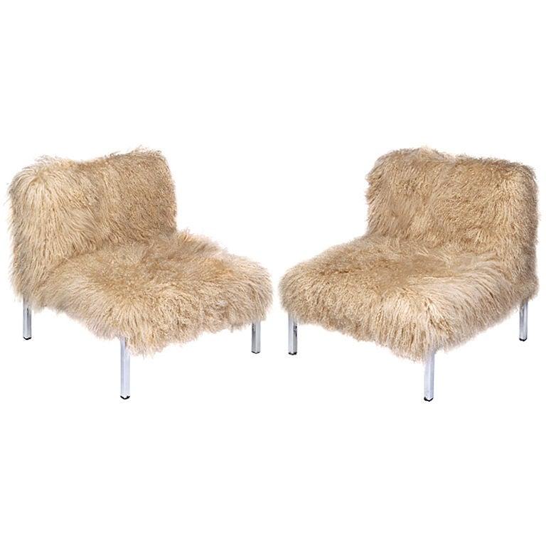 Mongolian Lamb X Chrome Slipper Chairs At 1stdibs